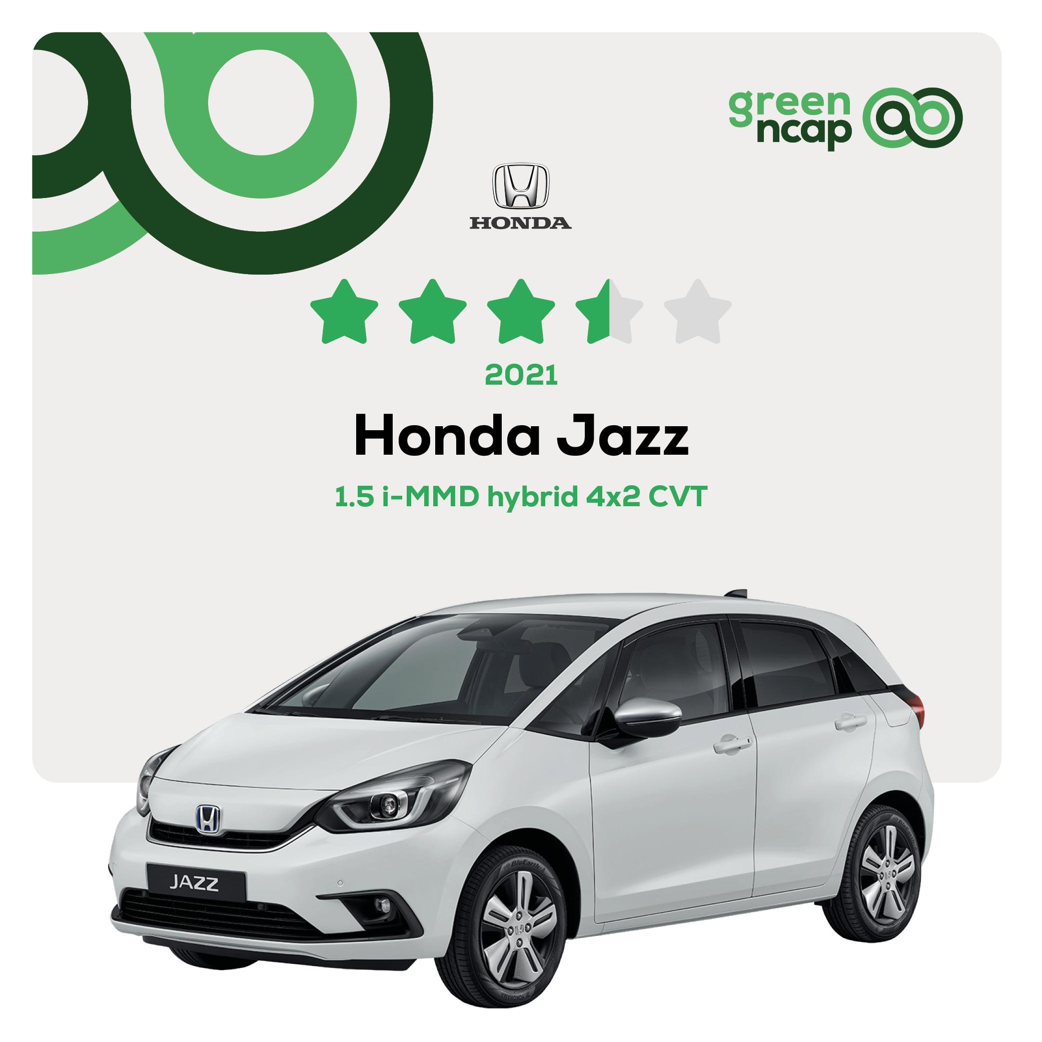 Honda Jazz - Green NCAP Results July 2021 - 3½ stars