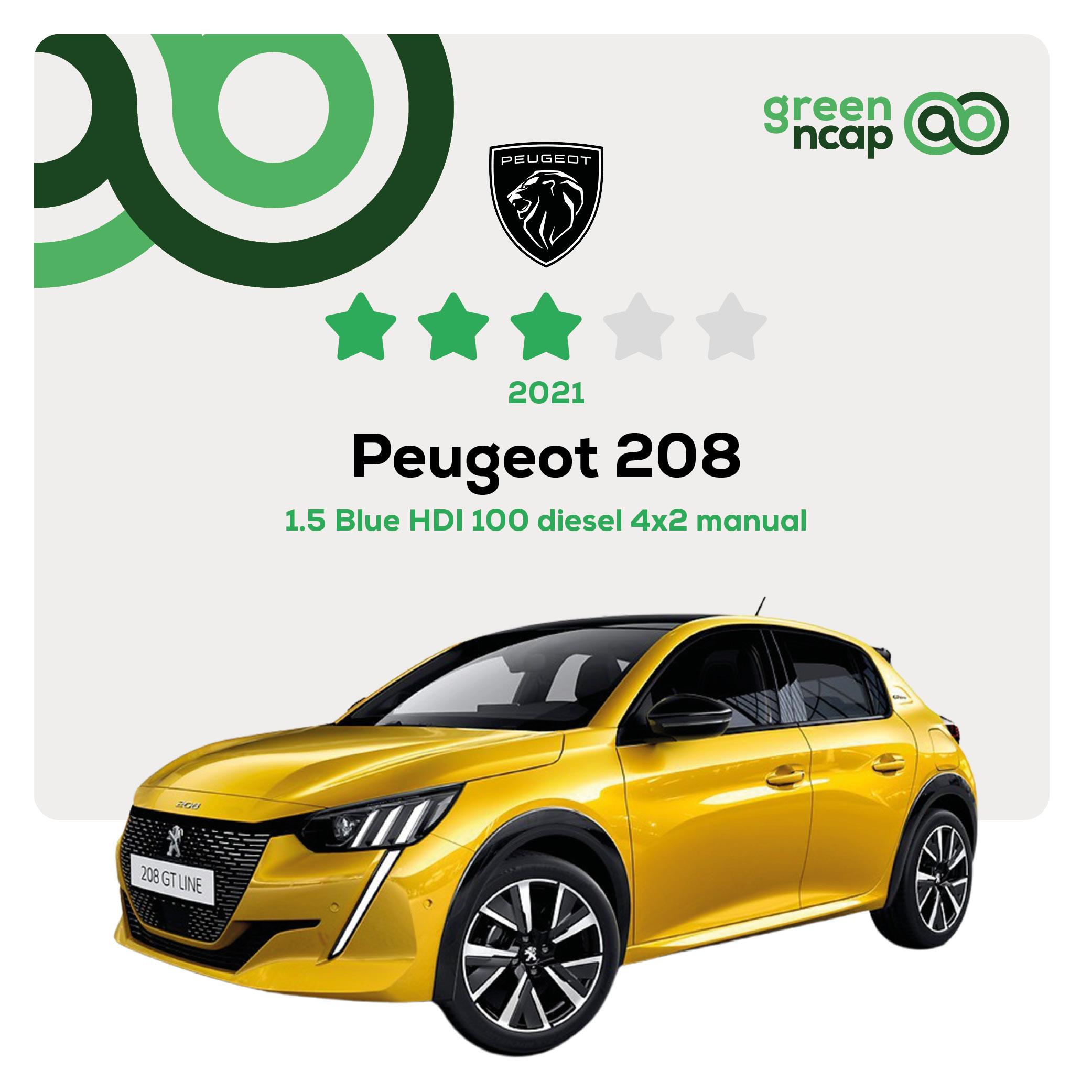 Peugeot 208 - Green NCAP Results July 2021 - 3 stars
